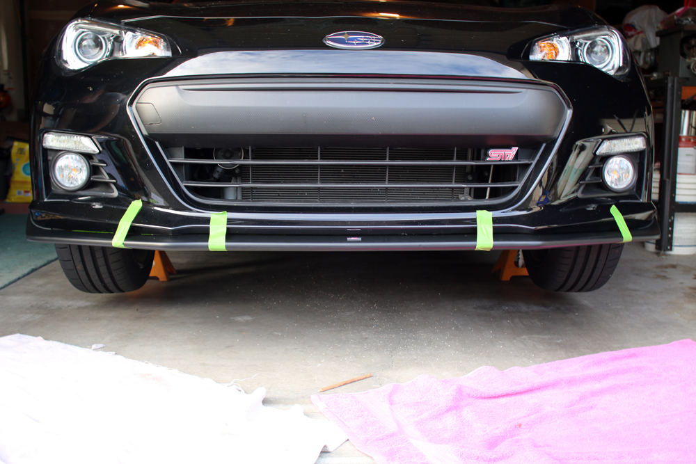 image of brz front with frog tape holding lip