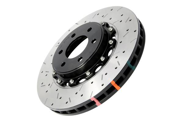 Disc Brakes Australia - DBA Rear Drilled & Slotted 5000 Series 2 Piece Rotor Assembled w/ Black Hat
