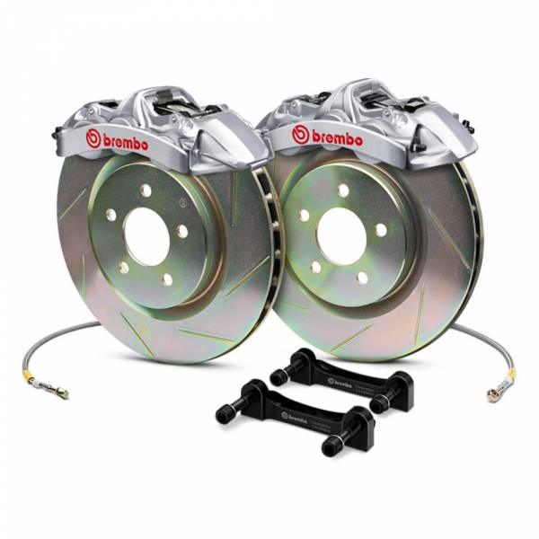 Brembo - Brembo Gran Turismo 4 Piston Front Brake Kit Silver Slotted Rotors