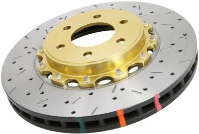 Brakes - Brake Rotors - Disc Brakes Australia - DBA Front Drilled & Slotted 5000 Series 2 Piece Rotor Assembled w/ Black Hat