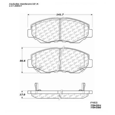 StopTech - Stoptech Centric Premium Semi-Metallic Front Brake Pads - Image 3