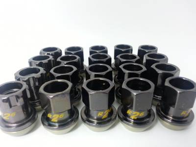 Wheels - Lugs Nuts - Project Kics - Project Kics 12X1.25 Black Chrome R26 Lug Nuts (20)