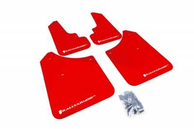 Aero - Rally Armor - RallyArmor - Rally Armor 03-08 Forester Red UR Mud Flap White Logo