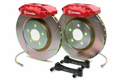 Brembo Gran Turismo 4 Piston Rear Brake Kit Red Slotted Rotors