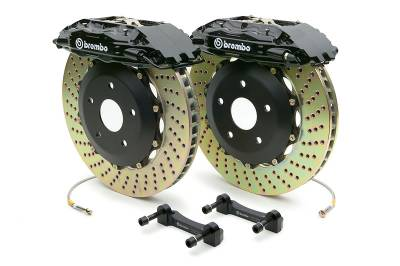 Brakes - Brake Kits - Brembo - Brembo Gran Turismo Drilled Brake Kit 4 Piston 2-Piece Black Front