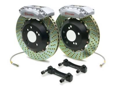 SUSPENSION - Brakes - Brembo - Brembo Gran Turismo Drilled Brake Kit 4 Piston 2-Piece Silver Front