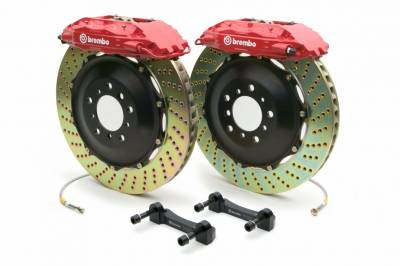 Brakes - Brake Kits - Brembo - Brembo Gran Turismo 4 Piston Front Brake Kit Red Drilled Rotors