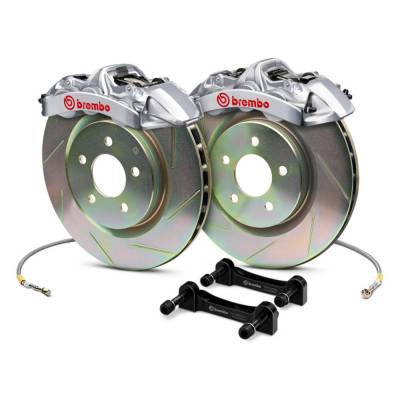 Brakes - Brake Kits - Brembo - Brembo Gran Turismo 4 Piston Front Brake Kit Silver Slotted Rotors