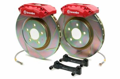 Brakes - Brake Kits - Brembo - Brembo Gran Turismo 4 Piston Front Brake Kit Red Slotted Rotors