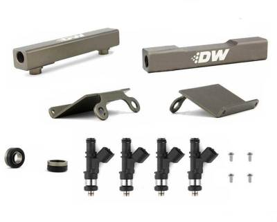 Fuel System - Fuel Rails - DeatschWerks - DeatschWerks Fuel Injectors 1500cc w/Top Feed Conversion Fuel Rails