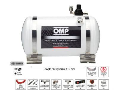 Rally Equipment - Fire Suppression - OMP - OMP 14LB White Collection Electrical Fire Extinguisher System